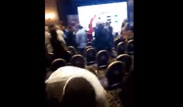 Photo of بالفيديو: مؤتمر للثوار ينتهي بعراك… إليكم المفتعل!